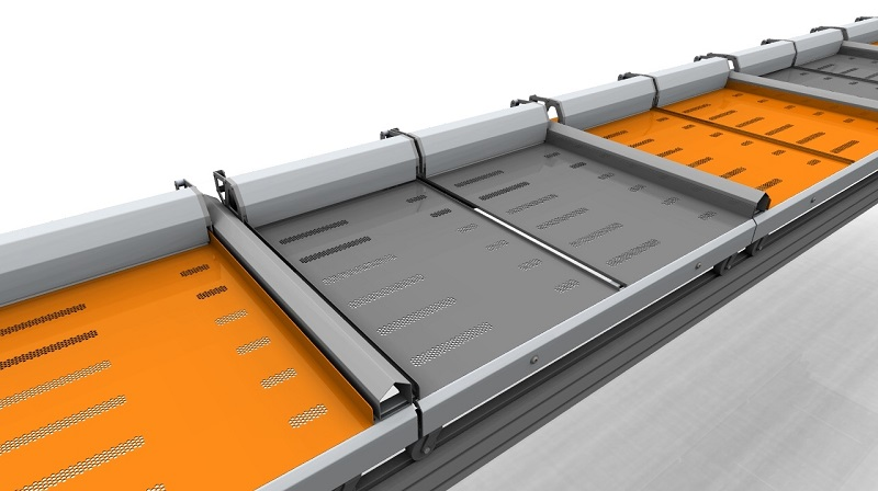 twin push tray 3d model with grey trays
